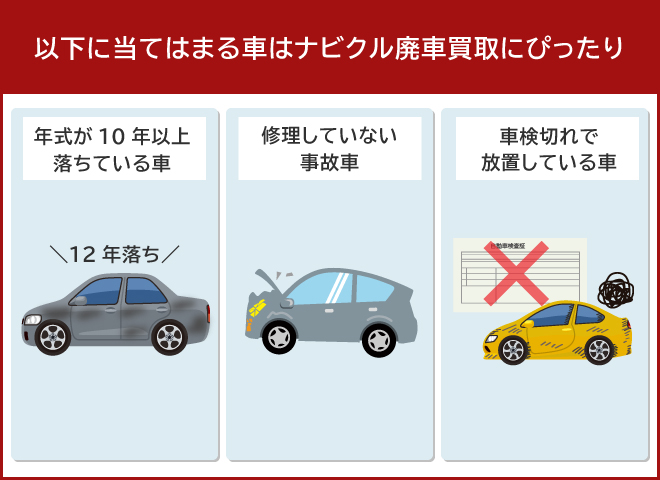 以下に当てはまる車はナビクル廃車買取にピッタリ